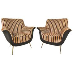 Pair of Mid-Century Modern Italian Lounge Chairs in the Style of Marco Zanuso