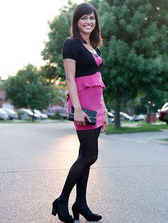 Pink and black #peplum dress