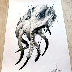 Tintenfisch - Octopus, Qualle und Co ect. Octopus Drawing, Octopus Tattoo Design, Octopus Tattoos, Octopus Art, Octopus Sketch, Tattoo Sketches, Tattoo Drawings, Body Art Tattoos, Art Sketches