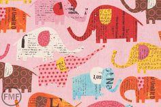 Fat Quarter Elephants in Pink, Circus by Nancy Wolff for Kokka Fabrics, Cotton/Linen Blend Fabric