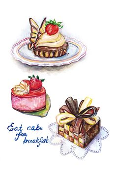 Cakes food illustration
