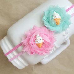 Ice Cream Cone Headband Petite Shabby Rose Headband by MylaMoos
