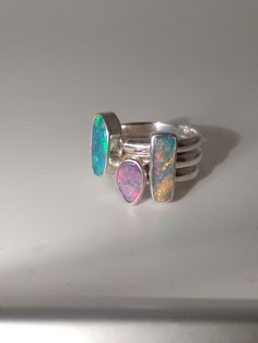 Unique opal stacking silver ring set size 6.5/N by SimplyopalGB