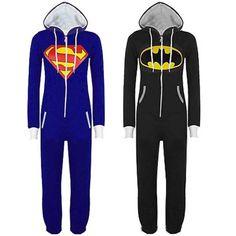 Fashion Mens and Womens Onesie Superman & Batman Cartoon Cosplay Hooded Zip Front Jumpsuit