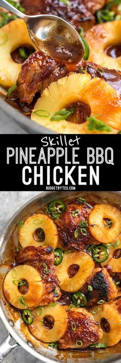A quick pan sauce drenches tender chicken thighs and thick pineapple slices in this easy Skillet Pineapple BBQ Chicken. #onedish #dinner