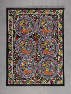 Buy Multicolor Tree of Life with Peacock Madhubani Painting (30in x 22in) Handmade Paper Natural Paint Art Vintage Finds Online at Jaypore.com Madhubani Paintings Peacock, Madhubani Art, Indian Folk Art, Indian Artist, Traditional Paintings, Pen Art, Nature Paintings, Tribal Art, Tree Of Life