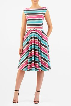 Stripe cotton jersey knit belted dress