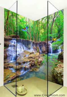 Wallpaper Forest Fall Stream Wall Murals Bathroom Decals Wall Art Print Home Office Decor - Imke Schamscha - Wallpapers Designs Floor Murals, Floor Decal, Wall Murals, Floor Art, Diy Tapete, Images Murales, Forest Falls, Foto 3d, 3d Wallpaper For Walls