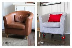 Diy ReUpholstered Tub Chairs | Come See How I Madeover These Ikea Tullsta  Tub Chairs From Brown .