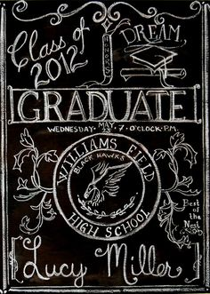 Made for my Lucy's graduation!!  Graduation hand lettered 2 by themushroomgnome, via Flickr