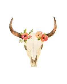 Cow Skull Print | Watercolor Flowers | Buffalo Skull Wall Art | Tribal Print by 1840Atelier on Etsy https://www.etsy.com/listing/256144799/cow-skull-print-watercolor-flowers