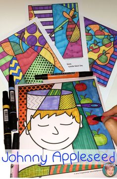 Johnny Appleseed art project for kids. Interactive and pattern filled Pop Art coloring sheets. No prep classroom activity for teachers and open ended creativity and fun for students!
