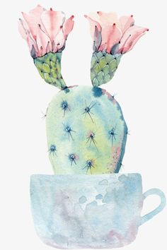 Cactus Drawing, Cactus Painting, Plant Painting, Watercolor Cards, Watercolor Flowers, Watercolor Paintings, Desert Art, Vintage Birds, Cute Wallpapers