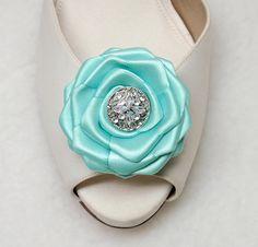 Rhinestone Tiffany Blue Shoe clips 2 Aqua Blue  by daisyclub, $18.00