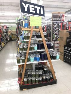 Ladder display! Retail Displays, Merchandising Displays, Store Displays, Ace Hardware Store, Ladder Display, Paint Store, Variety Store, Retail Fixtures, Garage Storage Systems