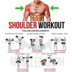 Want BIGGER Shoulders? Hit 'Save' & Try This Workout Out Next Time FOLLOW @musclemorph_ for more fitness tips - This mass workout starts…
