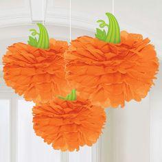 Pumpkin Pom Poms - 40cm Halloween Decorations£6.993pk