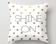 Black Gold Bedroom Throw pillow cover -black white and gold effect- shine on - spot cushion - Gold Teen Bedroom, White Gold Bedroom, White Bedroom Design, Cute Cushions, Cute Pillows, White And Gold Bedding, Throw Pillow Covers, Throw Pillows, Gold Rooms