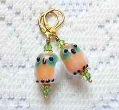 Lampwork Glass Owl Earrings