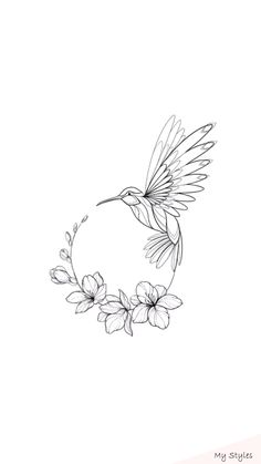 Hummingbird circular design – # tattoo … - Top Of The World Cool Art Drawings, Pencil Art Drawings, Bird Drawings, Art Drawings Sketches, Flower Tattoo Drawings, Body Art Tattoos, Small Tattoos, Fox Tattoos, Tree Tattoos