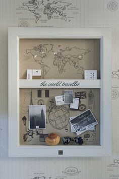 Travel Wall, fun idea to display memories. Have seen this done for babies too, with their hospital band, booties, etc.