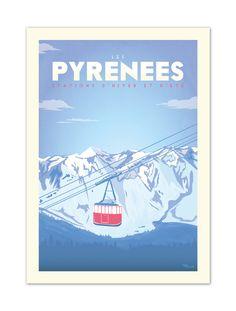 €25 . Affiche illustration originale PYRENEES ''Téléphérique'' . Papier 250g/m² Couché Mat