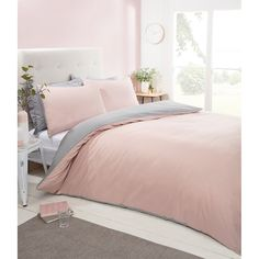 Add a touch of colour and luxury to your bedroom with this fabulous Silentnight Reversible Duvet Set. 5 colours - B&M Stores. Pale Pink Bedrooms, Blush Pink And Grey Bedroom, White Bedroom, Pink Bedding, Luxury Bedding, King Size Duvet Sets, Double Duvet Set, Bedroom Seating, Single Bedroom