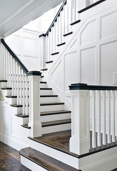8 Hardy Tips: Black Wainscoting Window metal wainscoting ideas.Wainscoting Board And Batten House wainscoting design stairs. Painted Stairs, Wooden Stairs, Bannister Ideas Painted, Wooden Staircase Railing, Faux Wainscoting, Wainscoting Ideas, Wainscoting Bathroom, Stairway Wainscoting, Stairway Walls