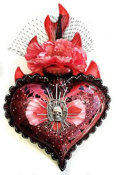 mixed-media on painted, hydrostone sacred heart