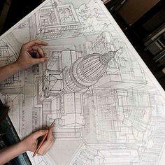 Dibujo arquitectónico increíble perspectiva