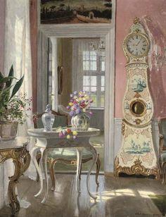 Adolf Heinrich Claus Hansen (1859-1925) — Summer Booms in an Interior  (528×690)