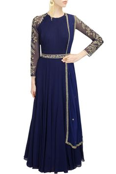 Dark blue sequins embroidered anarkali set available only at Pernia's Pop-Up Shop.