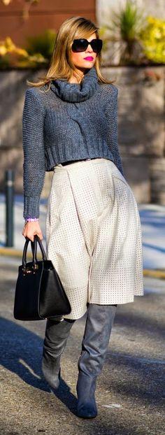 grey cowlneck knit sweater