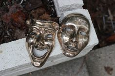 Large Vintage Brass Comedy and Tragedy Masks / Comedy and Tragedy Brass Masks / Actor Actress Gift / Theater Masks / Theater Teacher Gift by theretrobeehive on Etsy