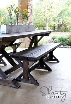 Want to build your own farmhouse table that will last for generations? Here's the tutorial for How to Build a Chunky X Farmhouse Table!