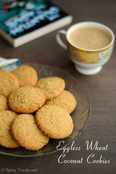 Eggless Wheat Coconut Cookies oil instead of butter and tsp baking powder Eggless Desserts, Eggless Recipes, Eggless Baking, Easy Baking Recipes, Coconut Recipes, No Bake Desserts, Baby Food Recipes, Indian Food Recipes, Indian Snacks