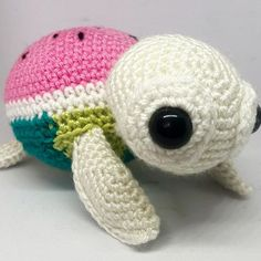 Just a little shellfie of a watermelon turtle. Haven't made one in a while, forgot how sweet they are. ❤️ #crochet #amigurumi…
