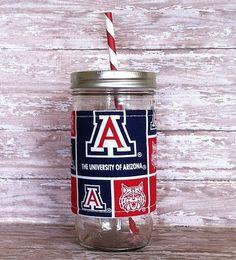Mason Jar Tumbler 24oz University of Arizona Insulated Cozy BPA Free Swirl Straw - Travel Mug Great Gift on Etsy, $16.00