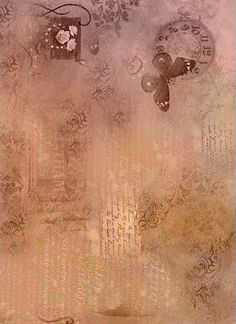 Rose Gold with butterfly, clock, roses and writing - nice background. Scrapbook Background, Background Vintage, Textured Background, Scrapbook Paper, Old Paper Background, Butterfly Background, Pink Butterfly, Papel Vintage, Vintage Paper