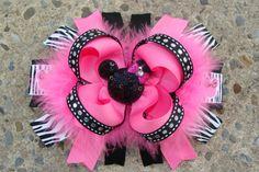 Disney Hair Bow Loopy hair bow Minnie Mouse Hair Bow by innavert, $11.50