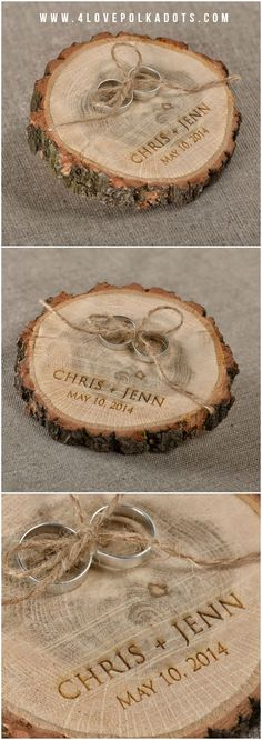 Pyrography wooden tree log slice for the rings on your wedding day! Our large wooden tree log slices would be perfect for this, they can be either wood burned or engraved. Visit www.craftmill.co.uk for more information.