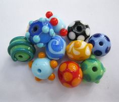 SRA Lampwork Orphan Beads Bright and Funky by bethsingleton
