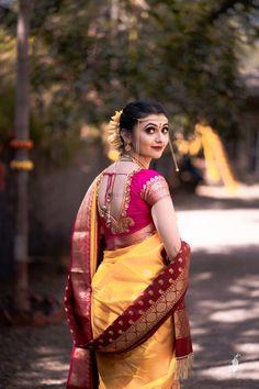 Maharashtrian bride in vivid hues Beautiful Curves, Beautiful Bride, Gold Lehenga, Lehenga Jewellery, Nauvari Saree, Bride Portrait, Wedding Sutra, Girl Pictures, Blouse Designs