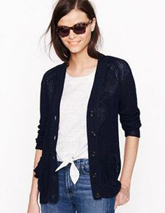 J CREW Linen Beach Cardigan Navy Bue Sweater Jacket Nautical Chunky Knit PocketS