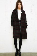 Cooperative Double Tartan Mix Coat at Urban Outfitters