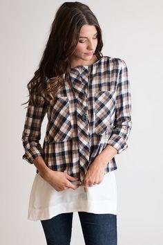 Harvest Moon Brown Plaid Top – Single Thread Boutique, $42.00 #plaid #doublepocket #placket #nocollar #plaidtop #soft #cozy  #top #beige #brown #singlethreadbtq #shopstb #boutique