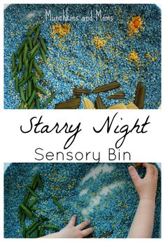 Starry Night Inspired Sensory Bin by Munchkins and Moms