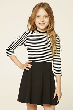 Forever 21 Girls - A ribbed knit top featuring an allover striped pattern, 3/4 sleeves, and a scoop neckline.