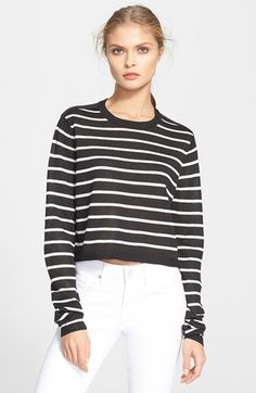 Tibi Stripe Crop Sweater available at #Nordstrom