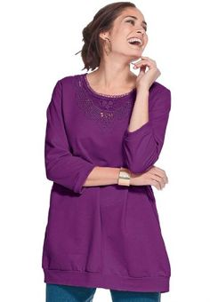 Woman Within Plus Size Top, tunic in sweatshirt fabric with lace trim $14.99